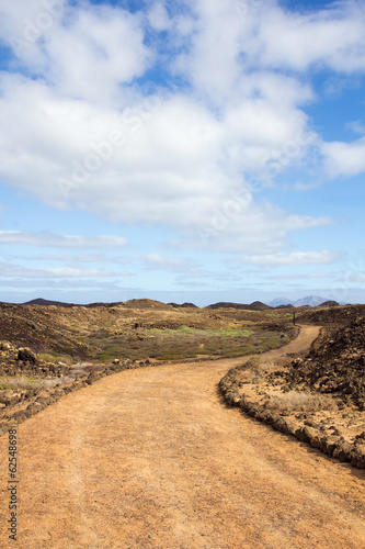 Curvy path on Island of Los Lobos in the Canary Islands
