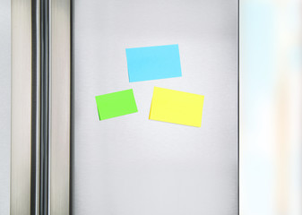 Sticky notes on the fridge