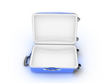 Opened suitcase on white background
