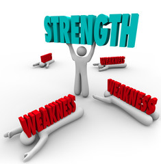 Strength Vs Weakness Person Lifting Word Strong Skills Advantage