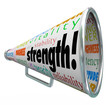 Strength Bullhorn Megaphone Message Competitive Advantage Winner