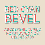 Red Cyan Bevel Alphabet and Numbers, Eps 10 Vector Editable