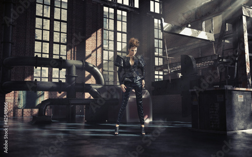 Fashionable photo of woman in factory