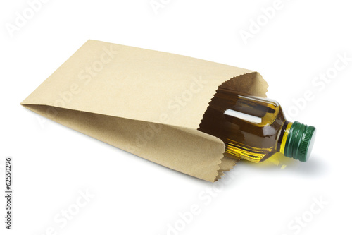 Bottle Of Olive Oil  in Paper Bag