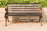single bench in park