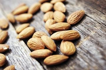 Raw Almonds on Wood