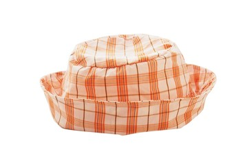 orange plaid hat on white background