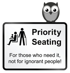 Monochrome priority seating sign