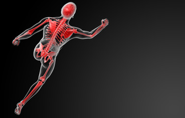 running skeleton by X-rays in red - top view