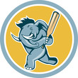 Elephant Batting Cricket Bat Cartoon
