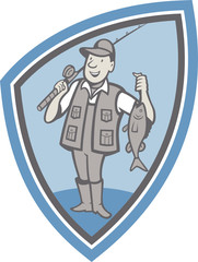 Fly Fisherman Showing Fish Catch Cartoon