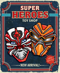 Vintage Super hero toy shop poster design