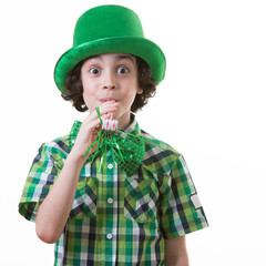 Funny Child during Saint Patrick celebrations