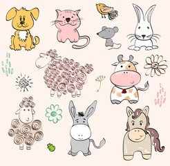 set of farm animals. Hand drawn illustration