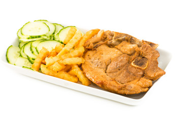 Cuban cuisine: Pork Chops,cucumber salad and french fries
