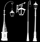 decorated four white street lamps collection