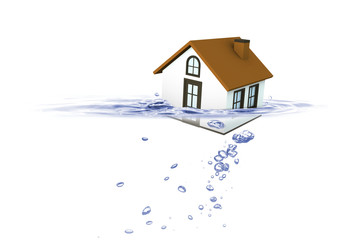 House sinking in water, Insurance concept