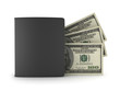Dollar bills and black leather wallet on white background
