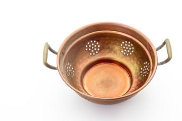 old copper colander