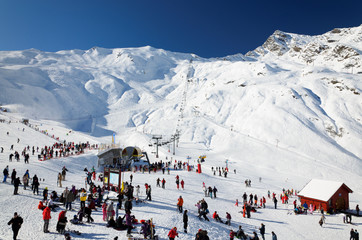 Cauterets ski resort in winter Pyrenees.