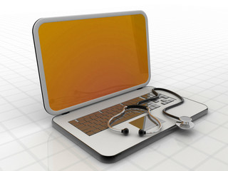 Medical stethoscope on a laptop compute