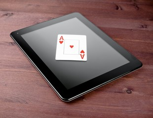 one poker card on digital tablet, concept of texas poker online