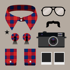 Set of fashion hipster design element, vector eps10 image.