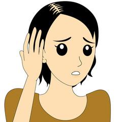 薄毛で悩む女性