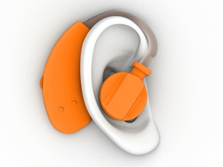 Hearing aid on ear. 3d image.