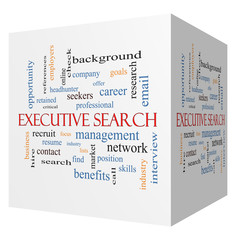 Executive Search 3D cube Word Cloud Concept