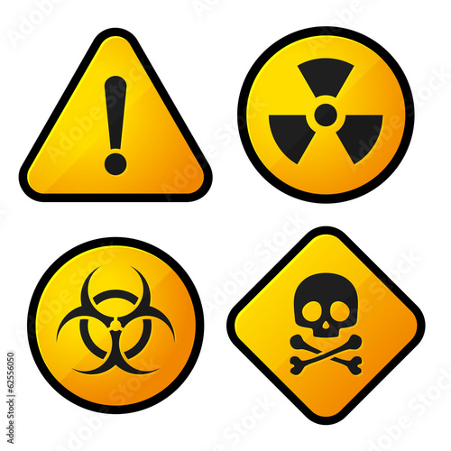 Danger Yellow Sign Icons Set