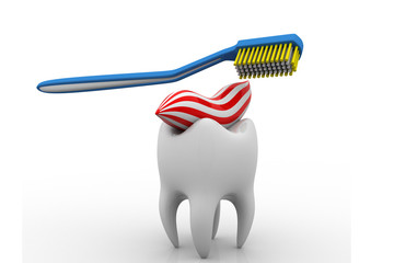 Tooth and toothbrush on white isolated background.