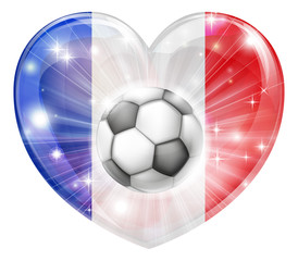France soccer heart flag
