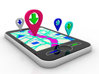 Smart phone with map and geolocation. 3d illustration