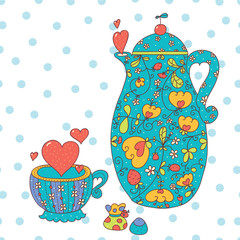 Tea set with hearts.