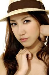Sexy girl wearing hat-closeup