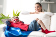 Little superhero resting on sofa