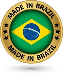 Made in Brazil gold label, vector illustration
