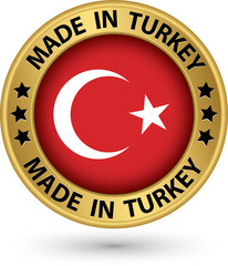 Made in Turkey gold label, vector illustration