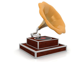 3d gramophone isolated background .