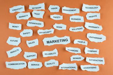 Concepto de marketing y publicidad en idioma inglés