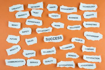 Concepto de éxito profesional en los negocios en idioma inglés
