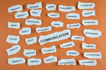 Concepto de comunicación en los negocios en idioma inglés