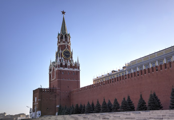 Spasskaya tower of Moscow Kremlin. Red square, Moscow, Russia