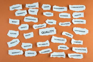 Concepto de calidad en los negocios en idioma inglés