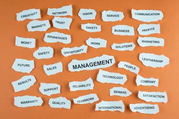 Concepto de gestión de negocios en idioma inglés