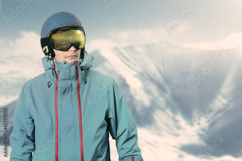 snowboarder on the top of the mountain