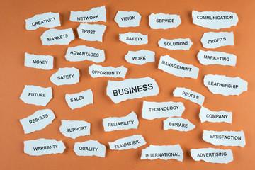 Concepto de negocios de la empresa en acción en idioma inglés