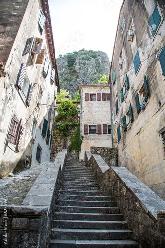 Stone Steps Up Narrow Alley in Kotor