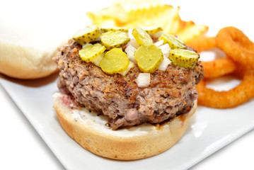 Rare Hamburger with Chopped Pickles and Onions